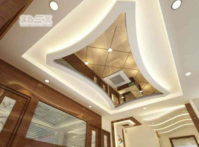POP design with mirrors false ceiling designs for living room 2018