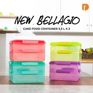 New Bellagio Cake Food Container 3.3 L X 2 (Set of 4)