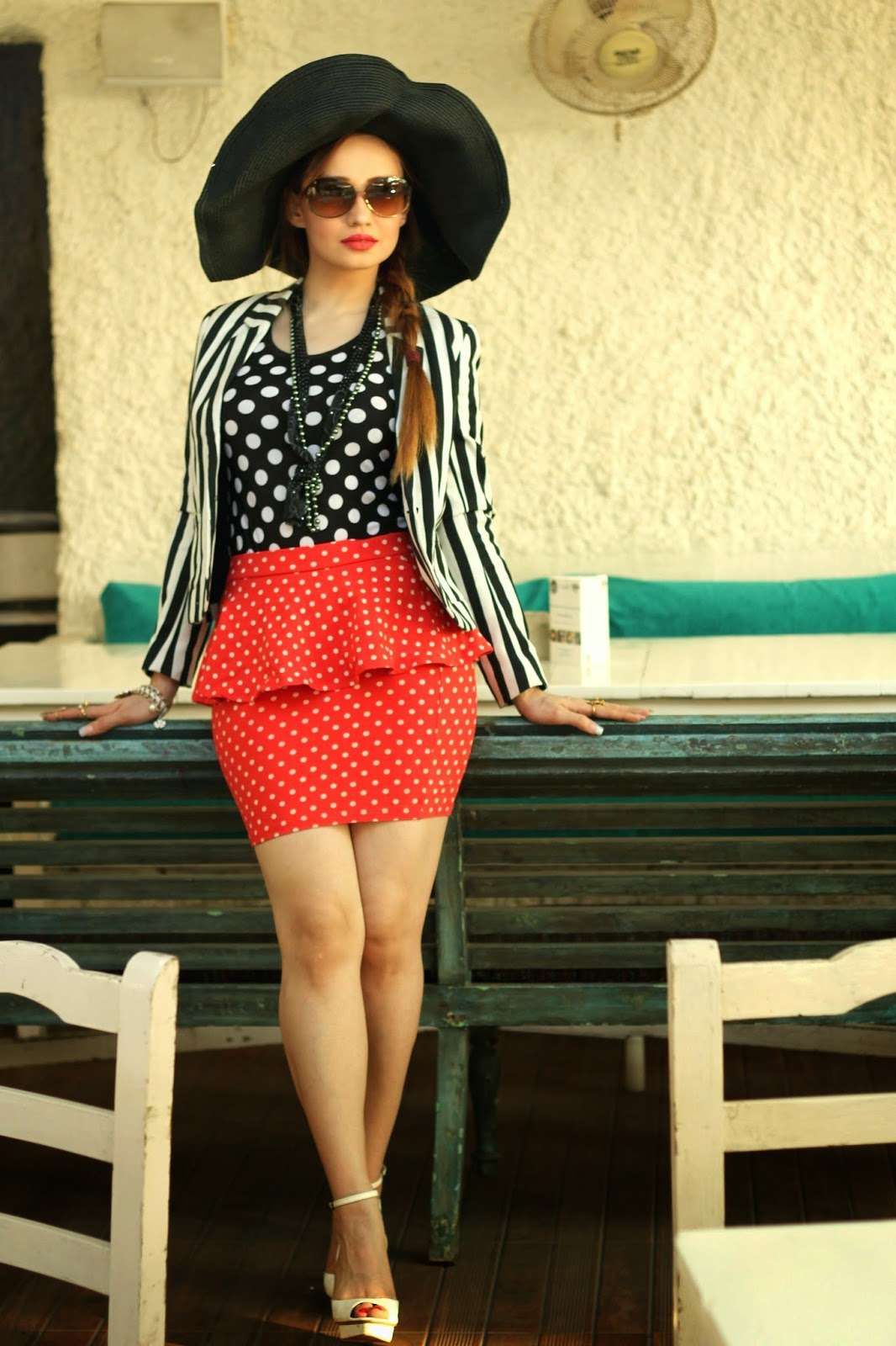 Striped Blazer,Polka dot top & Polka dot skirt