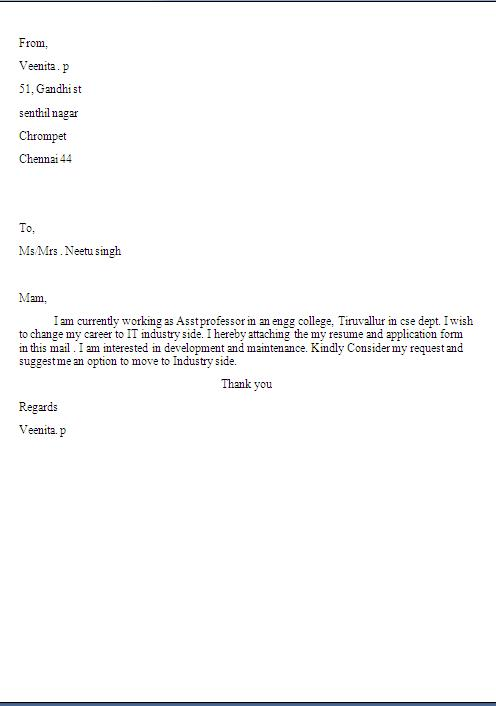 Teacher Professor Job Application Cover Letter Format In