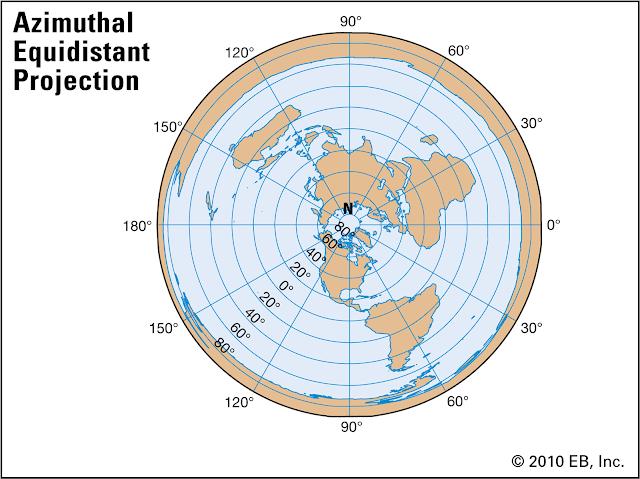 Mapa Azimutal Equidistante da Terra Plana