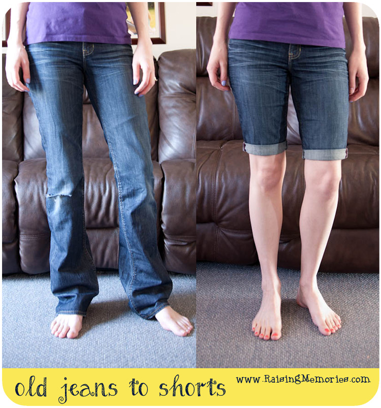 DIY Pants to Shorts Before and After