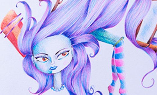 Ilustración, Ventana de madera sobre cabello de Maria Paula Acero Guevara aka Acero