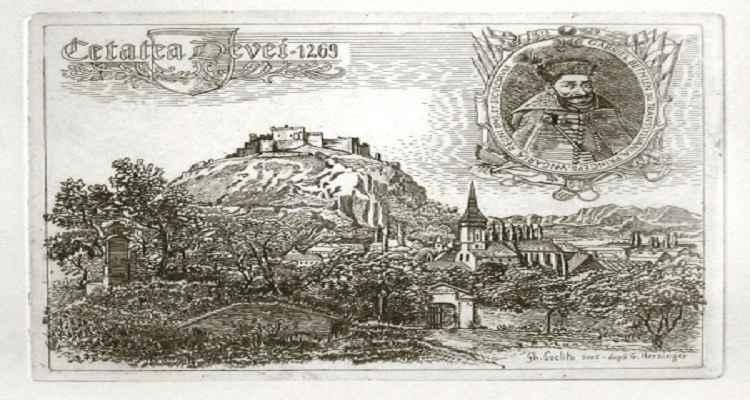 Cetatea Devei pictură grafică de Coclitu Gheorghe