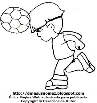 Niño jugando a cabecita con la pelota para colorear pintar. Dibujo de niño con su pelota de Jesus Gómez