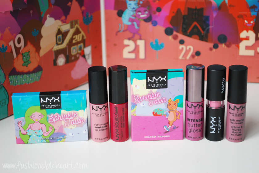 bblogger, bbloggers, bbloggerca, canadian beauty blogger, beauty blog, southern blogger, nyx, sugar trip, advent calendar, 2018, eyeshadow, highlighter, lip stick, lip cream, lip gloss, matte, pop n rock, cinnamon spice, nantes, vienna, sweet nothing, fluff piece, starstruck, swatches, review, lip swatch, hand swatch