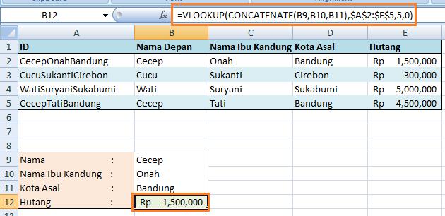 Concatenate untuk menghasilkan standar spefisik VLOOKUP