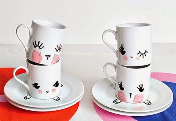 Decoraci n de tazas con plumones y pintura lodijoella - Como decorar una taza ...