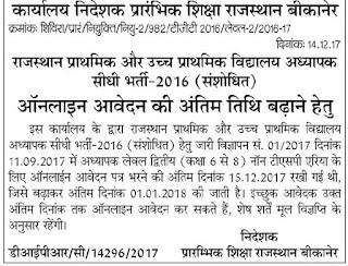 राजस्थान प्राथमिक और उच्च प्राथमिक विद्यालय अध्यापक सीधी भर्ती