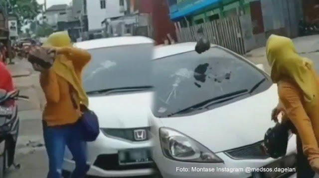 Video Wanita Lempari Bongkahan Batu Ke Kaca Mobil, Diduga Suami Ketahuan Selingkuh