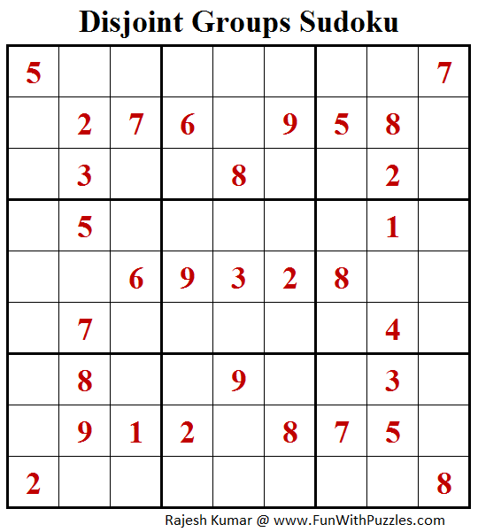 Disjoint Groups Sudoku Puzzle (Fun With Sudoku #255)
