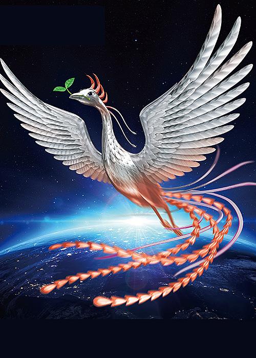 リアルイラスト、3DCG、鳳凰、フェニックス、火の鳥