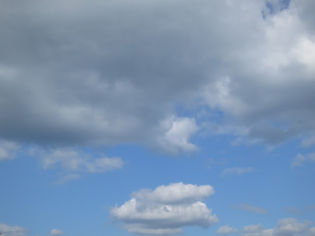 Cloud and clouds in blue but darkening sky.