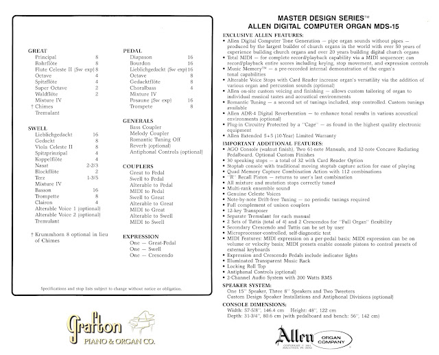 Back of Allen MDS-15 brochure showing stops, specifications, and features