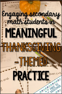 Engaging secondary math students in meaningful Thanksgiving-themed practice