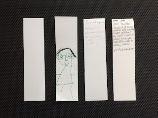 Strips of paper used as bookmarks, with notes or drawings