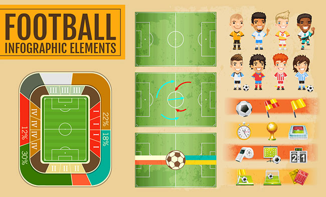 Football Vector Elements for Infographics by Saltaalavista Blog