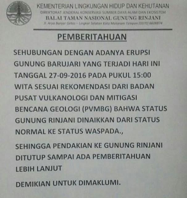 info penutupan gunung rinjani september 2016