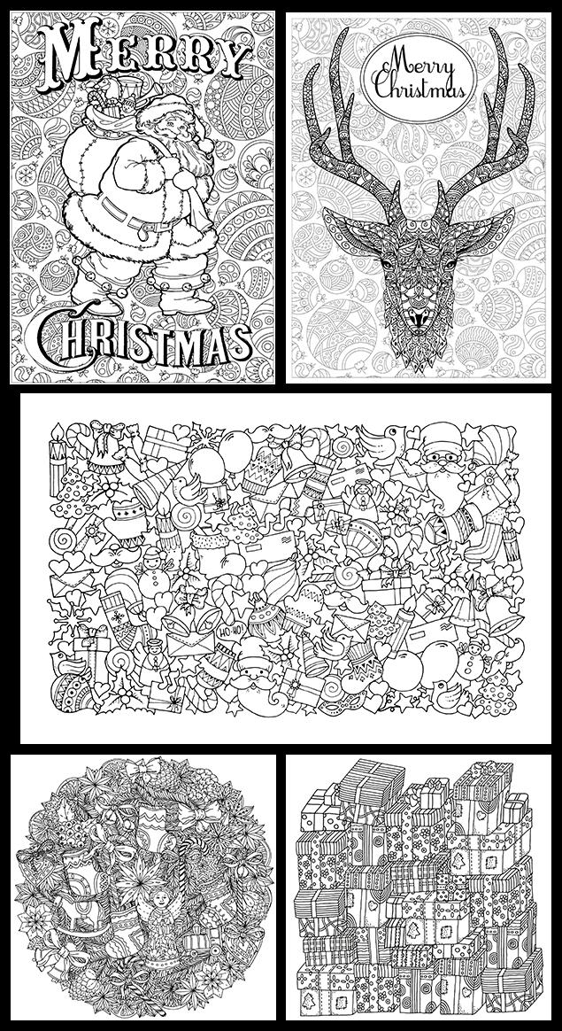 성인 크리스마스 색칠 공부 컬러링 도안 13장입니다 Our