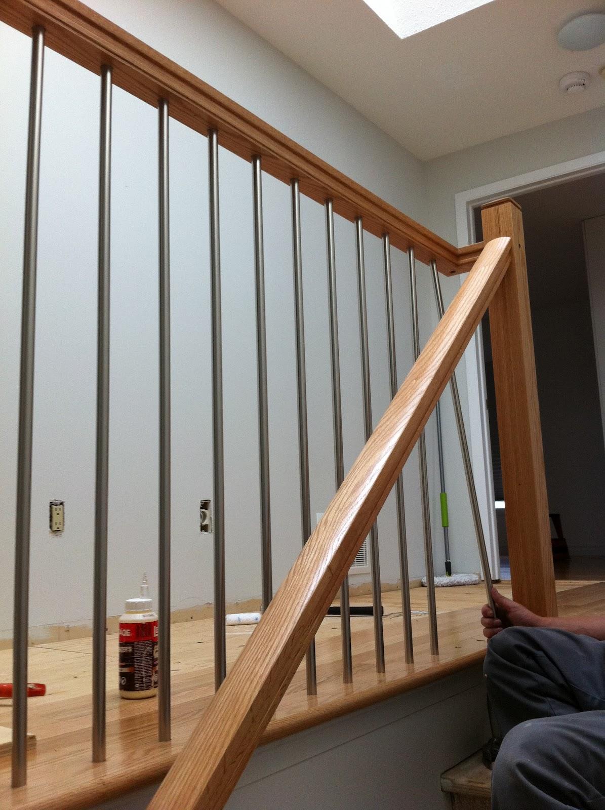 Ballet Dancers Handrail Covid Outbreak | Brushed Nickel Stair Railing | Horizontal | Farmhouse | Matte Finish | Light Dark Wood | Hallway