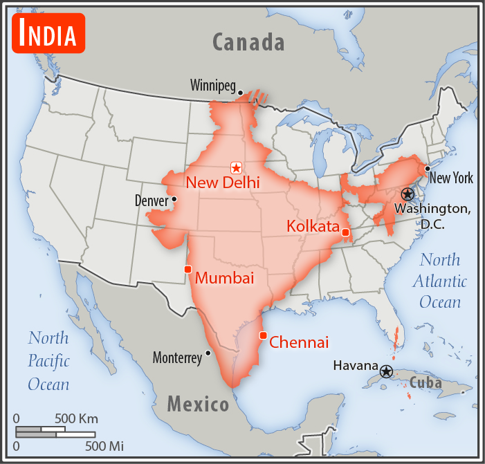 Size of India compared to United States