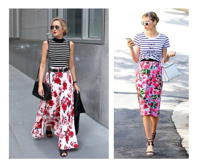 Сочетание юбки с цветочным принтом и топа в полоску