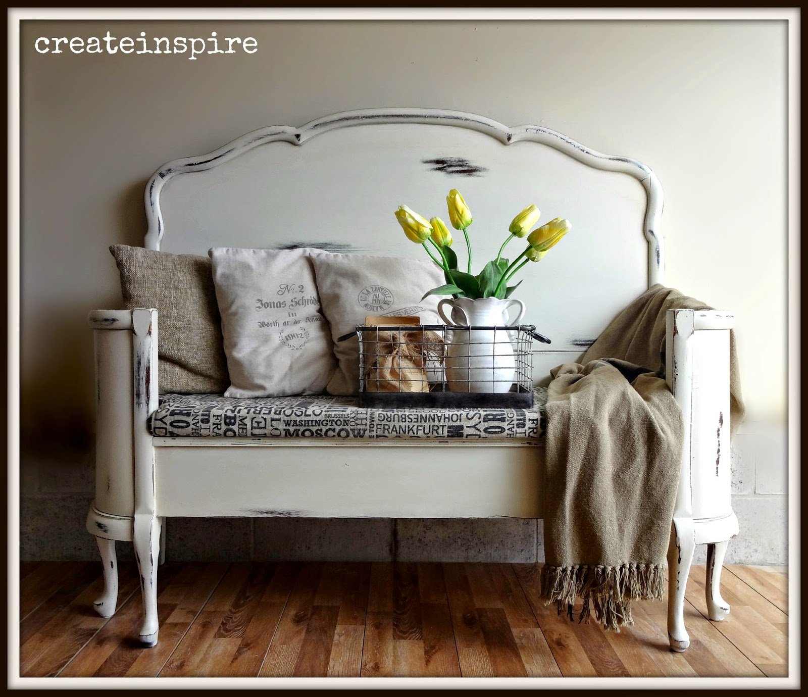 Antique Headboard Bench: {createinspire}: Antique Headboard To Bench In Antique White