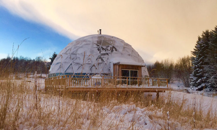 Family Thrives In The Arctic Circle By Building Cob House Inside A Solar Geodesic Dome