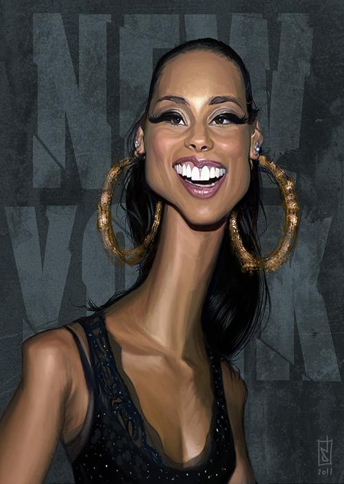 """Caricatura de la cantante """"Alicia Keys"""" por Alberto Russo"""