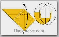 Bước 8: Từ vị trí mũi tên, mở lớp giấy ra, kéo và gấp lớp giấy lên trên.