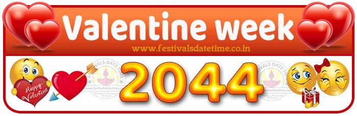2044 Valentine Week List Calendar, 2044 Valentine Day All Dates & Day