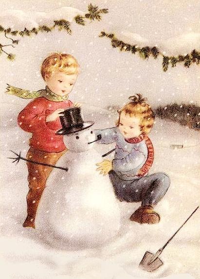 Image ancienne bonhomme de Neige vintage