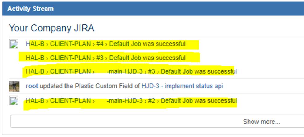 Jira dashboard with Bamboo info