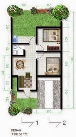 20 Gambar Denah Rumah Minimalis Type 36 1 Lantai  Home