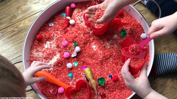 Heart Themed Sensory Play for Preschoolers