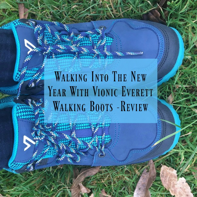 Walking-Into-the-New-Year-with-Everett-Vionic-Walking-Boots-Review-text-over-image-of-boots-on-grass