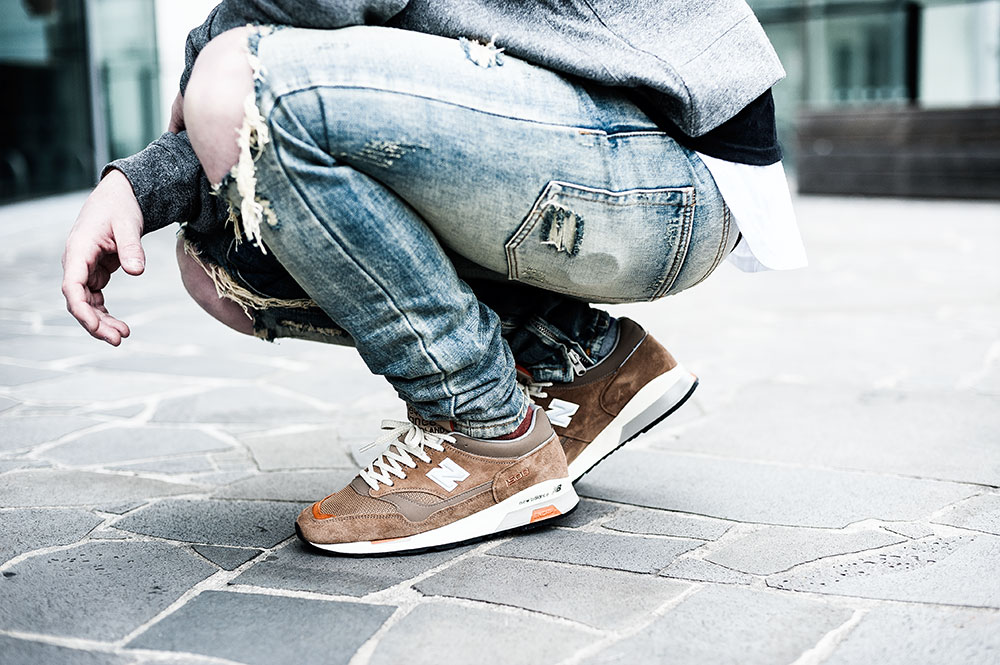 Norse Projects X New Balance M1500NO2 'Danish Weather' Brown Sneakers / MNML M1 Vintage Denim / MNML White Split-Back Scallop Tee / MNML Grey Alpha Hoodie by Tom Cunningham
