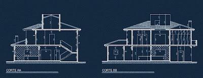 As seções transversal e longitudinal do projeto identificam os cômodos com paredes revestidas por azulejos, identificados nos desenhos pelas tramas em diagonais.