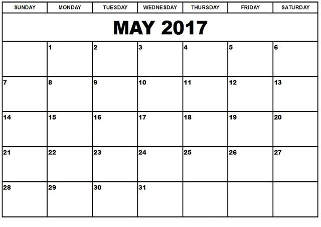 May 2017 Calendar, May Calendar 2017, May 2017 Printable Calendar, May 2017 Calendar Printable, May 2017 Calendar Template