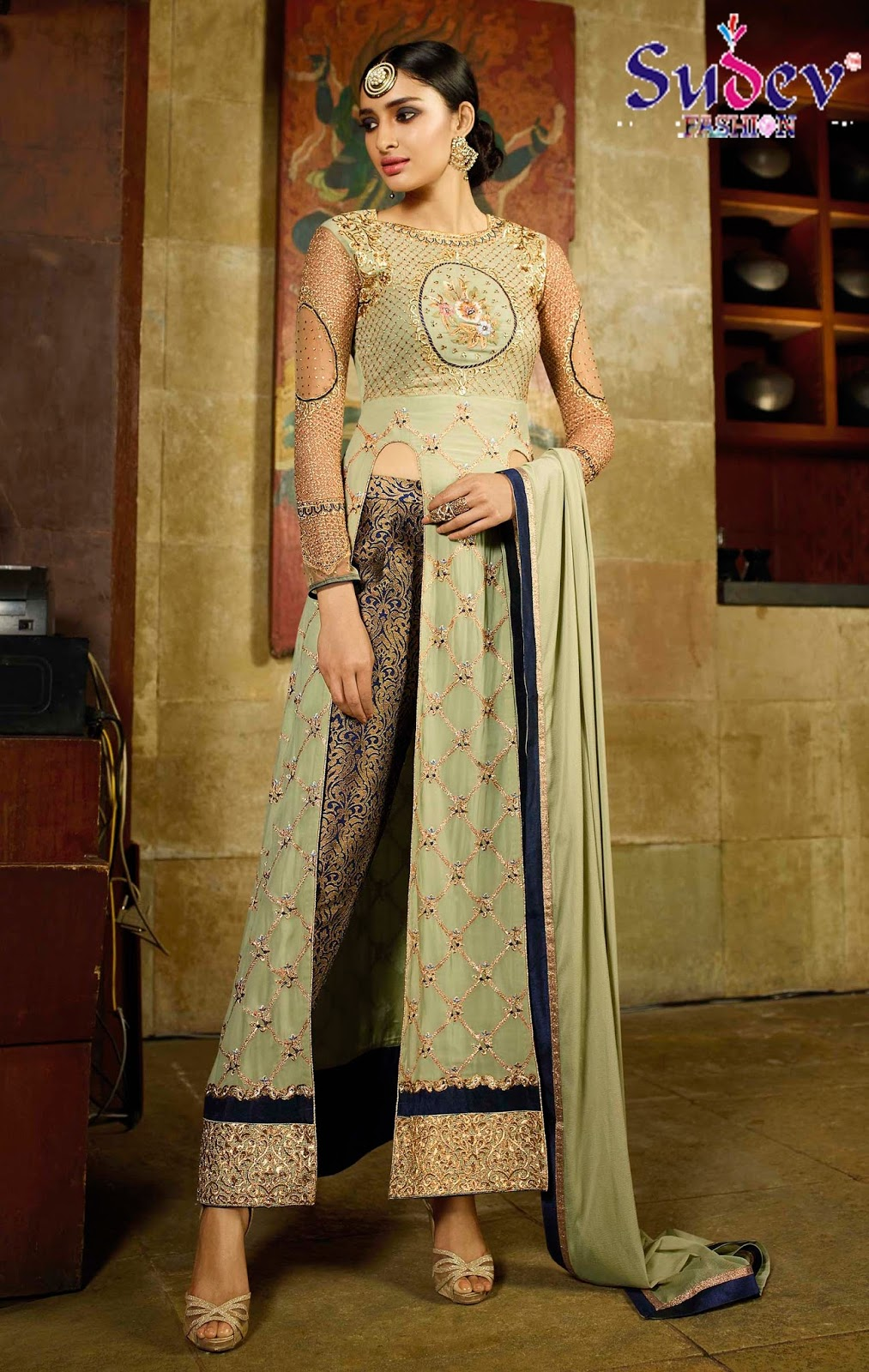 Designer party wear palazzo salwar suit online collection for Online suit builder