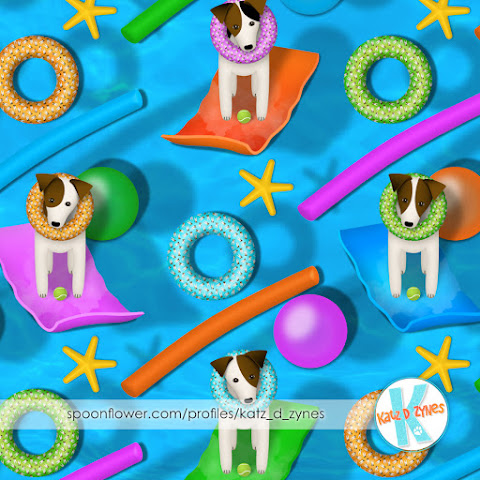 Parson Jack Russell pool party - vote for designs in Spoonflower's Dog Days challenge