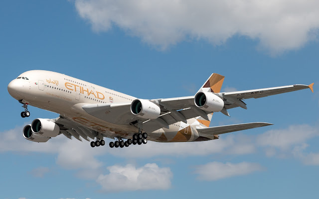 Etihad Airways Airbus A380 Flies To Mumbai