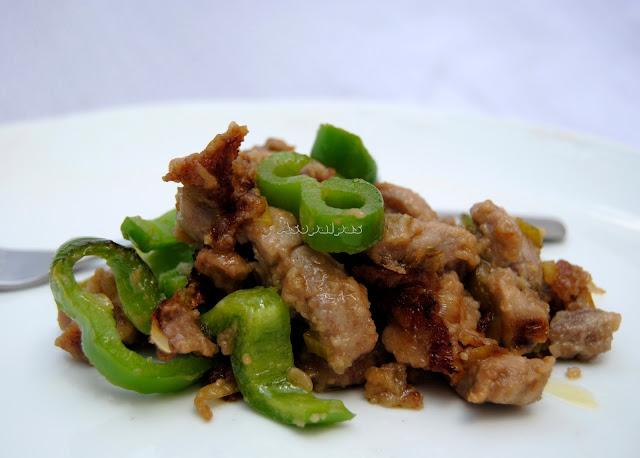 Carne de Cerdo con Pimientos Verdes (Qīngjiāo zhūròu)