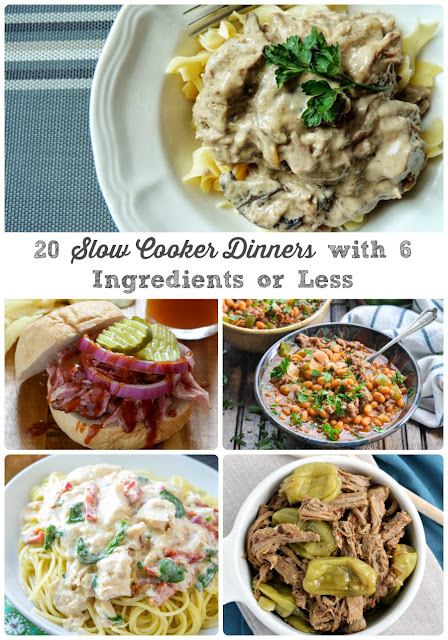 These 20 Slow cooker Dinners with 6 Ingredients or Less require just a handful of ingredients and very little prep.