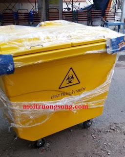 Thùng rác màu vàng y tế 450 lít nhựa composite