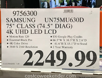 Deal for the Samsung UN75MU630D 75in tv at Costco
