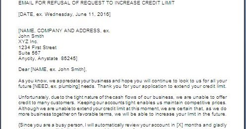 Credit Limit Refusal Letter