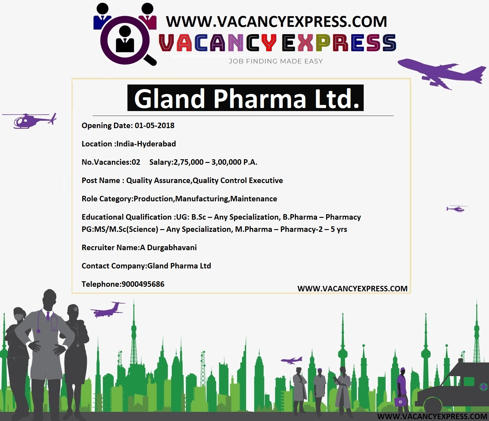 Gland Pharma Limited recruitment Click Here for job Details