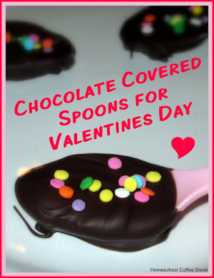 Chocolate and Valentines on the Virtual Refrigerator, an art link-up hosted by Homeschool Coffee Break @ kympossibleblog.blogspot.com - How to make these pretty chocolate covered spoons for your coffee or hot cocoa loving Valentine. And a simple Matisse inspired Valentine card idea too!