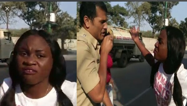 Video/Photos: Nigerian woman arrested for allegedly assaulting a policeman in India
